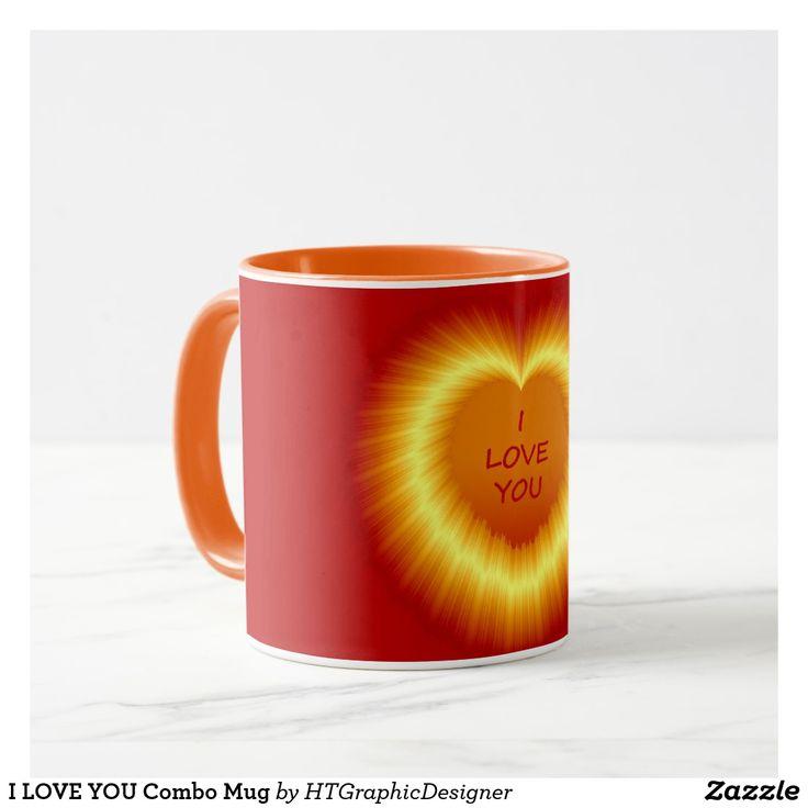 I LOVE YOU Combo Mug by www.zazzle.com/htgraphicdesigner* #zazzle #gift #giftidea #mugs #love #valentinesdaygiftideas #valentinesday #valentine #heart #red