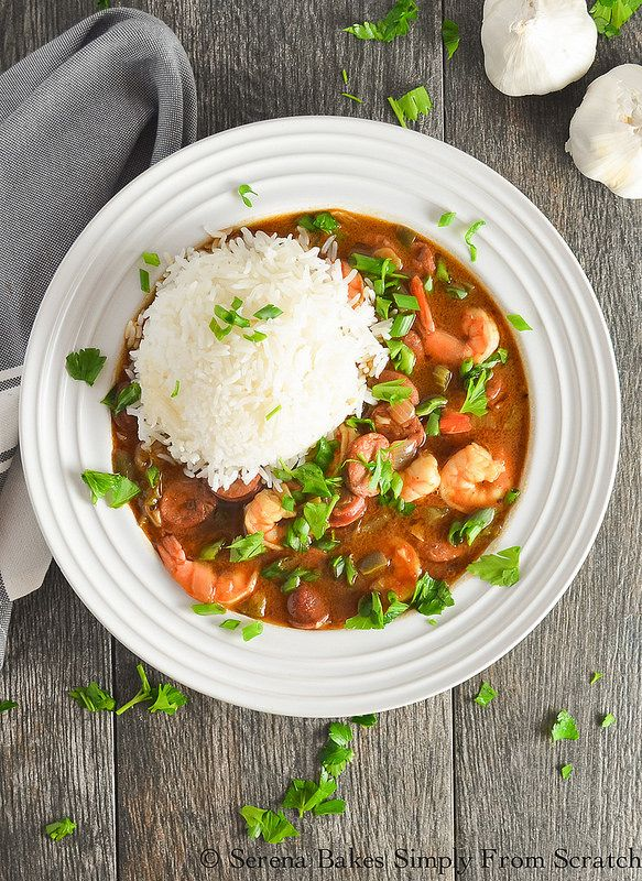 Shrimp and Andouille Sausage Gumbo's the perfect food and a fun way to celebrate Mardi Gras. serenabakessimplyfromscratch.com