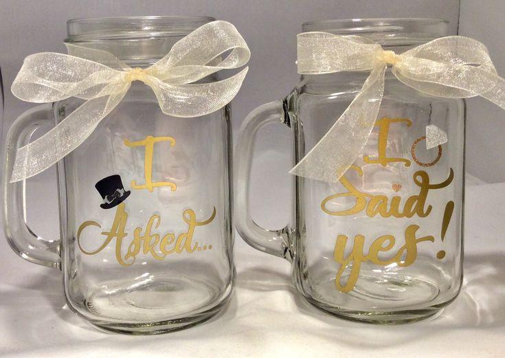 Excited to share the latest addition to my #etsy shop: I Asked I Said Yes Wedding Mason Jars, Rose Gold, Gold, Copper Rustic Mugs, Mason Jar Wedding, Mason Jar Engagement, Engagement Announcement