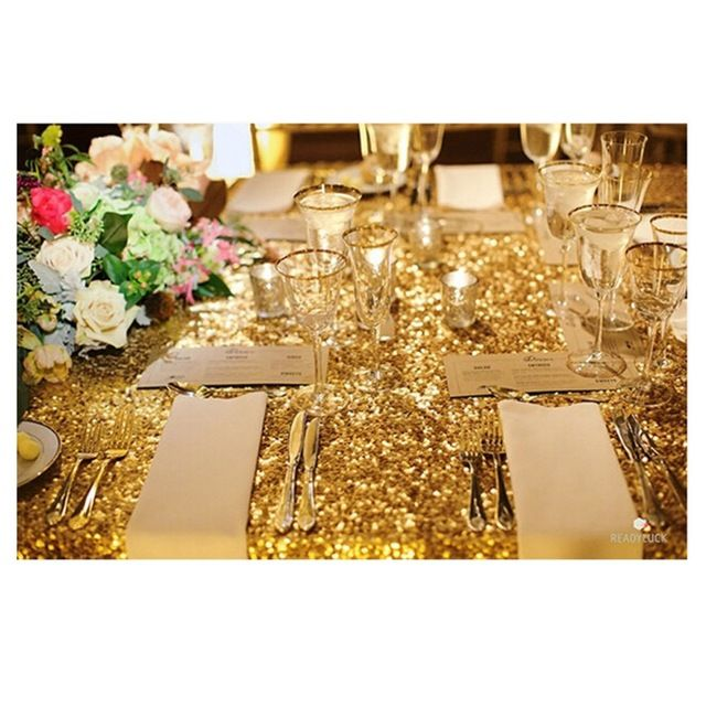 Hot 48inx72in Ouro Retângulo Estilo de Lantejoulas Toalha De Mesa Para O Casamento/Festa/Banquete Toalha De Mesa De Casamento Decoração (Frete GRÁTIS)