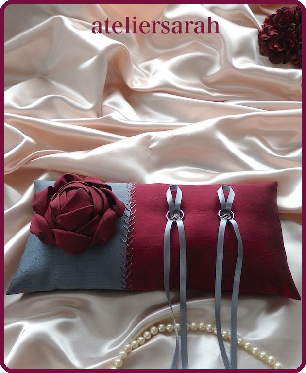 Bordeaux and gray ring pillow decorated with fabric flower