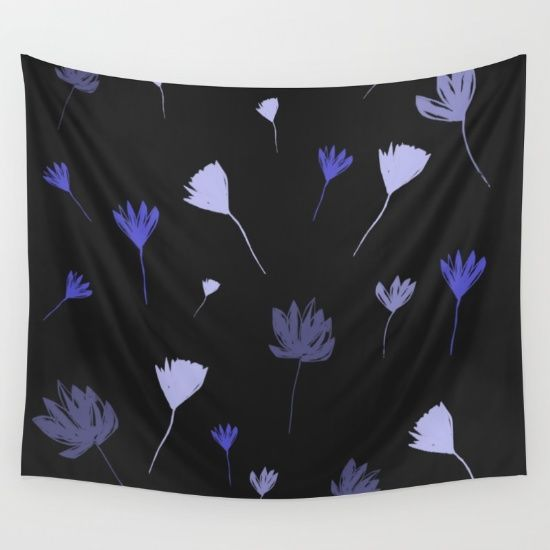 Flowers in the Night I Wall Tapestry