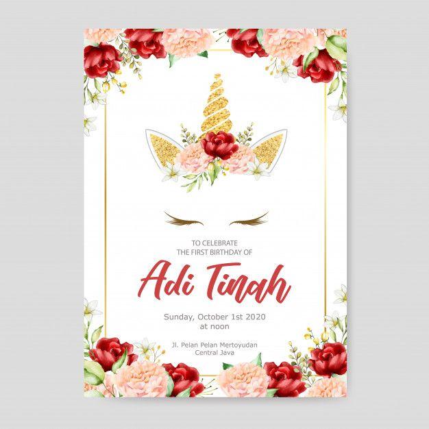 Birthday Invitation Card Template Cute Unicorn Graphic With Flower Wreath Birthday Invitation Card Template Unicorn Invitations Invitation Examples