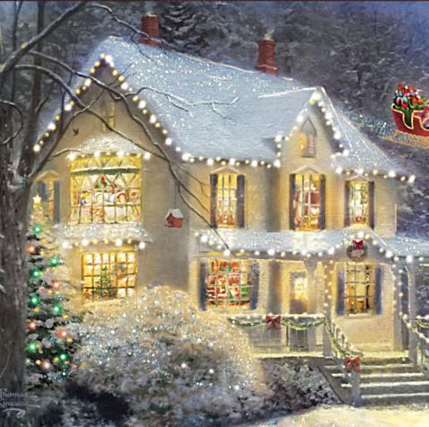 Christmas Lights TRIM the Two Story White House ... Every LIGHT on! by Thomas Kinkade