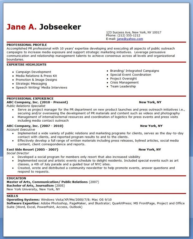 8 best Creative Resumes PR Careers images on Pinterest Resume - pr specialist sample resume
