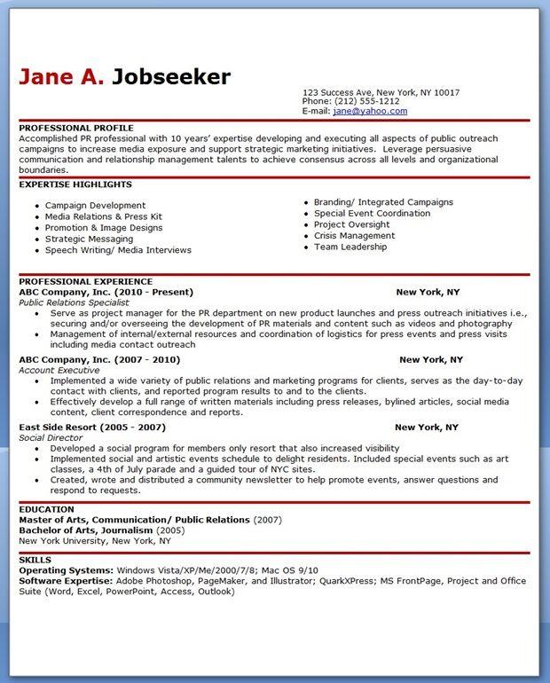 Sample Resume for Public Relations Officer