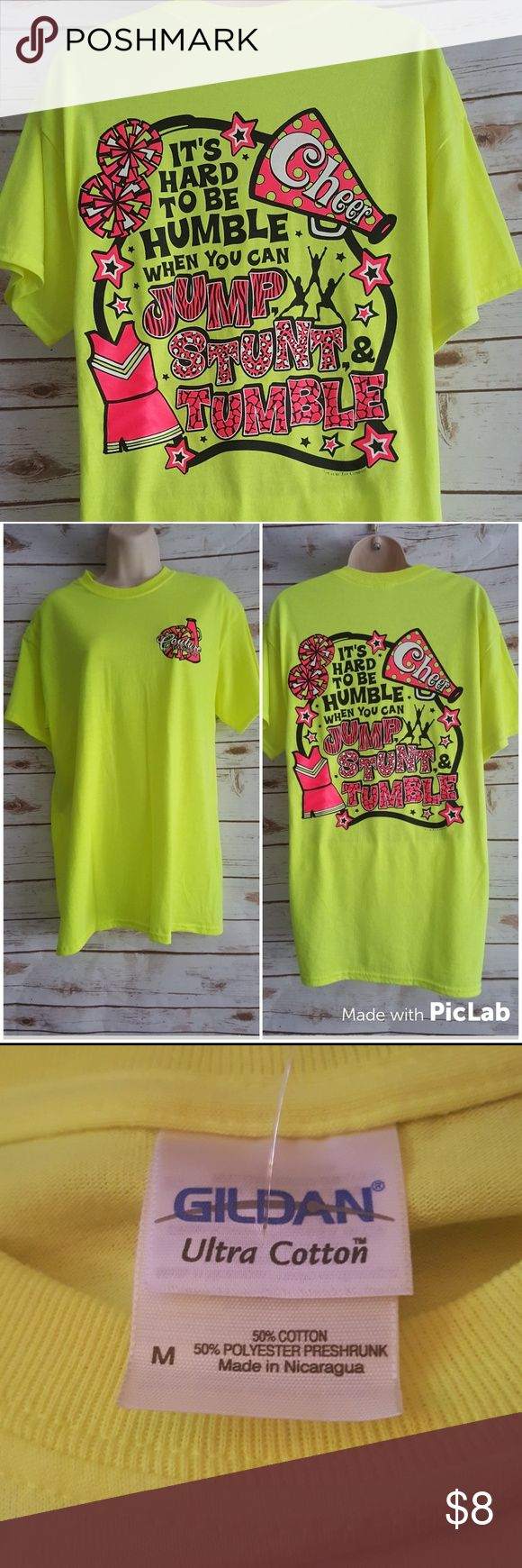 """Couture Tee Company Cheer Tee Cute highlighter yellow tee. Thr back says """"it's hard to be humble when you can jump stunt and tumble. Couture Tee Company Tops Tees - Short Sleeve"""