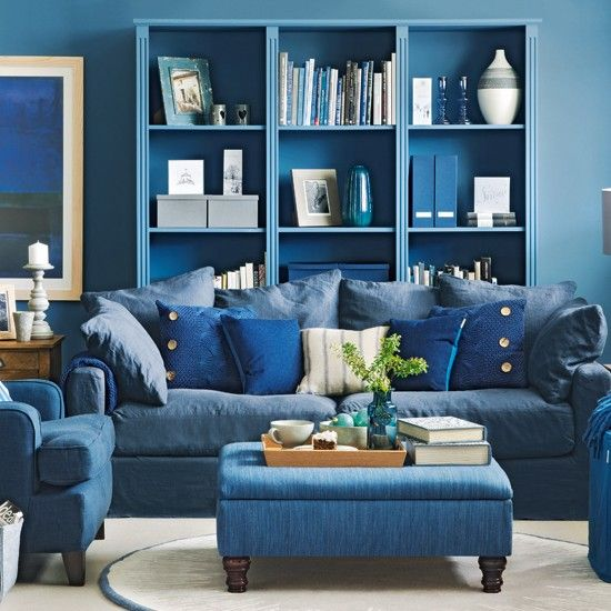 Denim blue living room | Living room decorating ideas | Ideal Home | Housetohome.co.uk