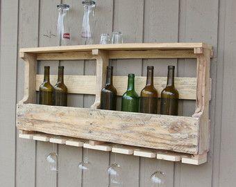 Inwijdingsfeest Gift Pallet wijn Rack Wijnrek unieke door GBandWood