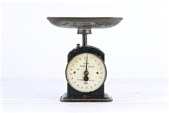 Vintage Kitchen Scale With Pan Antique Scale Black Scale Rustic