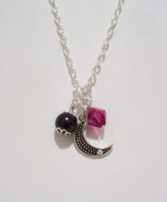 Fuchsia Crystal & Black Pearl Charm Necklace on Etsy, $30.00 CAD