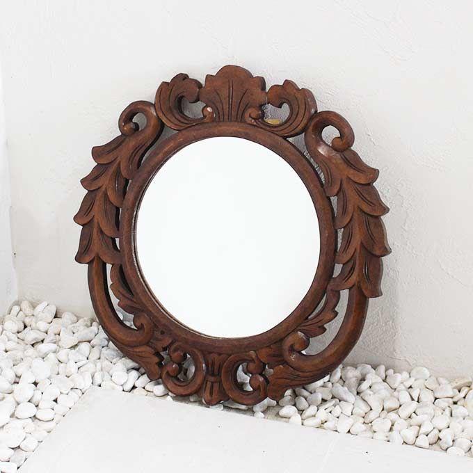 木製 鏡 ミラー 壁掛け 丸型50 バリ彫刻 バリ アジアン インテリア