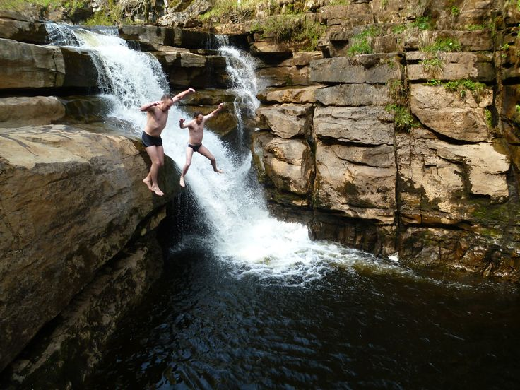 Two spectacular Waterfall or Gorge deep in a woody gorge. One is 5m high with 80m plunge pool, open and awe-inspiring. The other is 12m high with a 50m wide plunge pool, deep, dark and terrifying...
