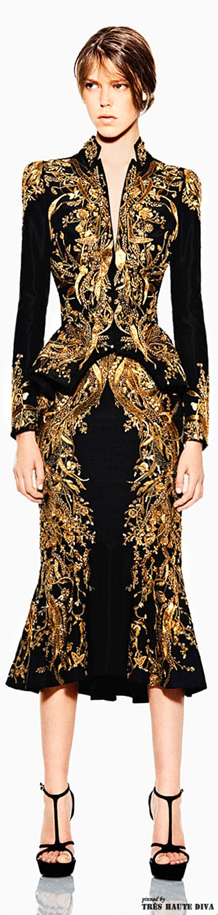 Mother of black and gold! There are hardly any words to do this creation anywhere near justice. I simply adore the golden patterned embroidery throughout, and of course, the peplum really adds the depth needed.