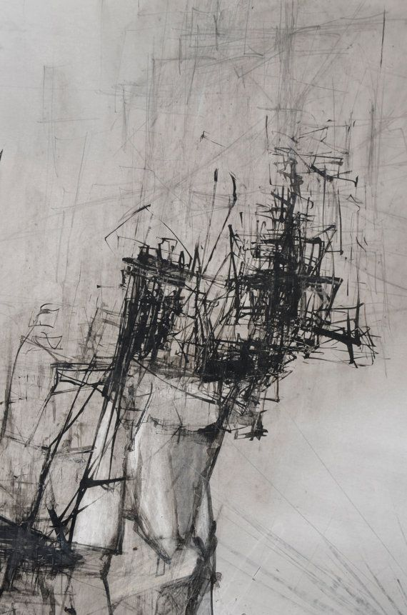 Ink Drawing Original Contemporary Art Abstract by obversDeSIGN