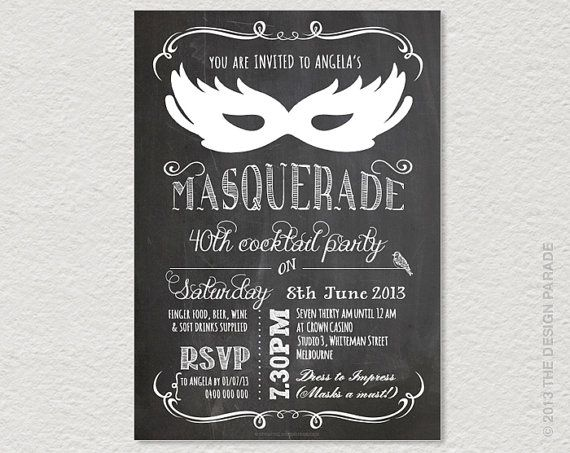 Best Dirty Masquerade Party Images On Pinterest Crafts - Black and white 30th birthday party invitations