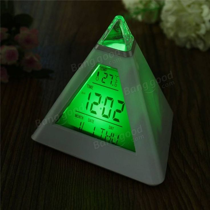 Pyramid Shape Digital Alarm Clock With Date Temperature 7 Colors LED Change Backlight