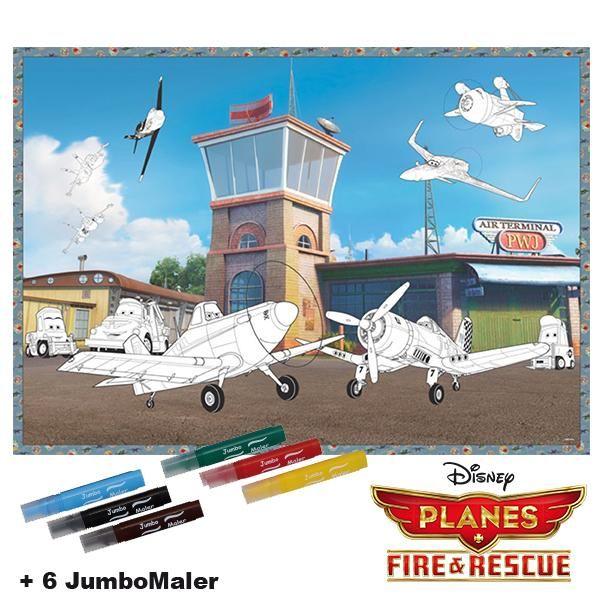 #BoMaBi #Planes ● Poster 118 x 84 cm zum #ausmalen incl. 6 Jumbomalern ● #Malen, #Spielen, #joyPac®