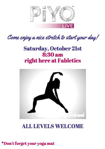 HEY MY LOCAL SARASOTA/BRADENTON FRIENDS  Come join me as I lead a LIVE PIYO class Saturday morning 8:30am at the Fabletics store at UTC.   I'm keeping it super beginner level...just a nice 20-30 minute stretch...so ALL LEVELS OF FITNESS are welcome and encouraged to attend :) - http://ift.tt/1HQJd81