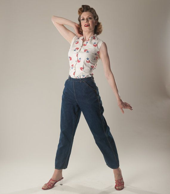 vintage 1950s denim jeans pants white stag pedal pushers