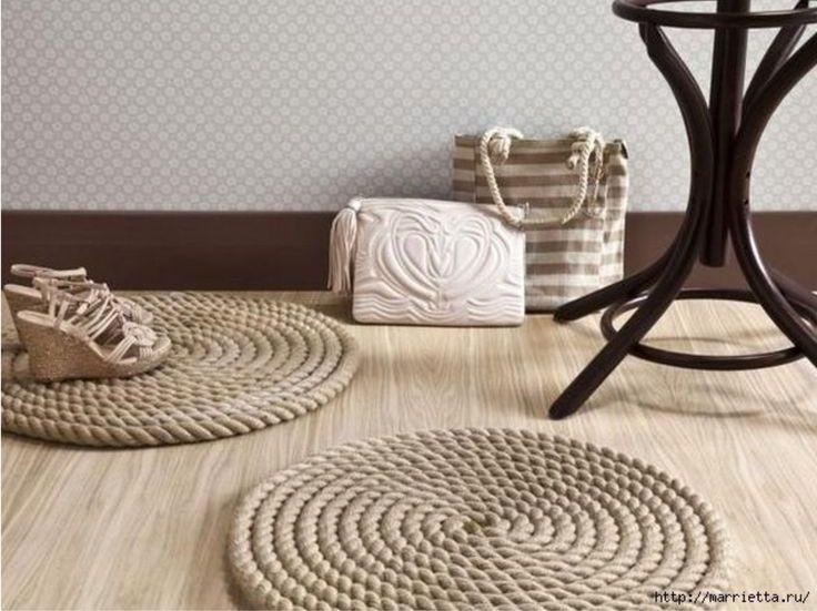 Réaliser de jolis tapis en corde soi-même, c'est possible! C'est l'idée déco du samedi! Des tapis en corde Pour réaliser vos tapis, vous aurez besoin de
