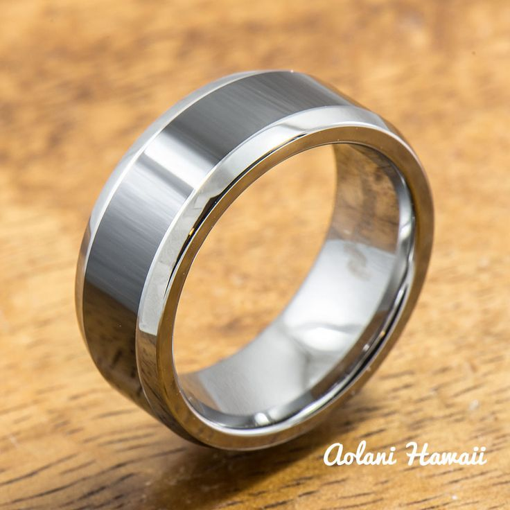 Polished Tungsten Carbide Ring with Black Ceramic Inlay (8mm width, Flat Style)