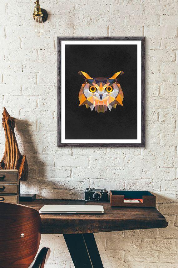 Polygonal Owl Etsy listing at https://www.etsy.com/listing/244058798/polygonal-owl-poster-animal-print