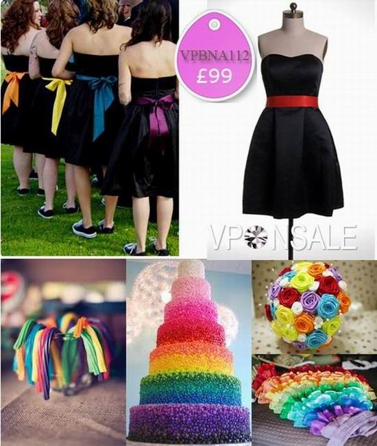 Like the colorful ribbon idea so the dresses still match while being different colors too