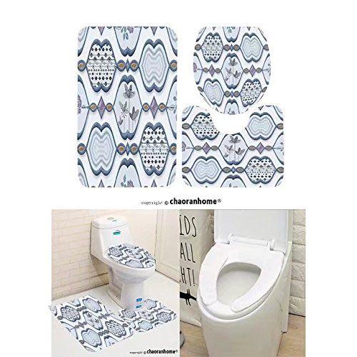 Chaoranhome Pattern Bath Mat Set 3 Piece Bathroom Mats Colorful