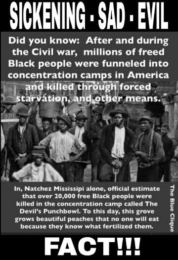 Wow! I'd never heard this about the Devil's Punchbowl or concentration camps right here in the United States - of course for black people - after the Civil War.