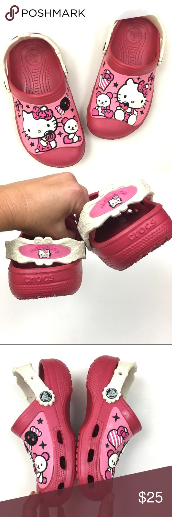 Hello Kitty Junior Size (J2) Crocs Hello Kitty Junior Size (J2) Crocs (see size chart). Hot pink with Hello Kitty design. Very lightly worn with minimal signs of wear. CROCS Shoes