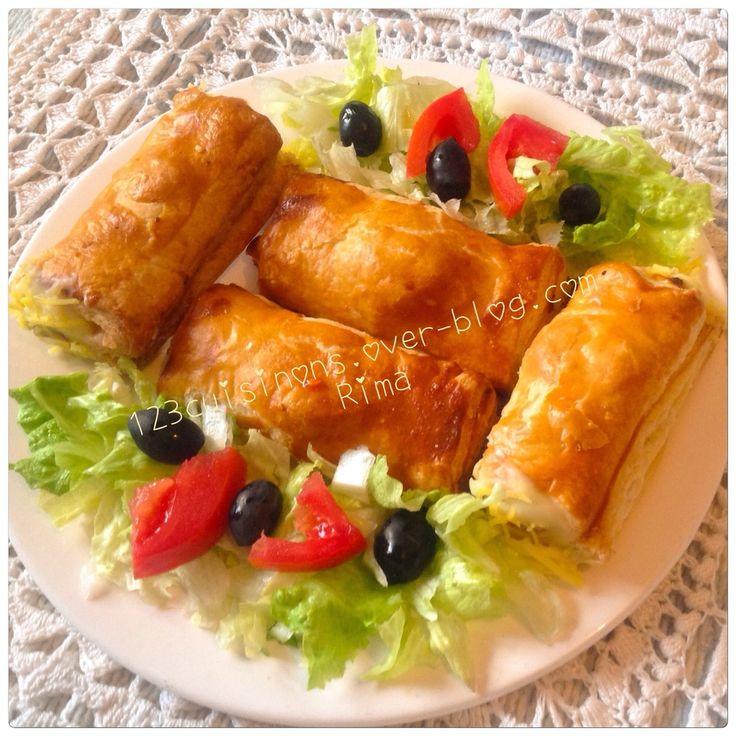 """✫¸.•*""""˜˜""""*°•.✫ Chaussons poulet/champignons et béchamel✫¸.•*""""˜˜""""*°•.✫"""