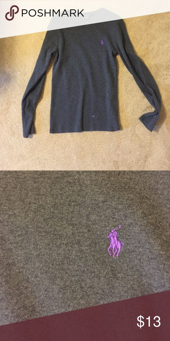 Long sleeved polo shirt Gray long sleeved polo shirt, worn once. Very soft! Polo by Ralph Lauren Tops Tees - Long Sleeve