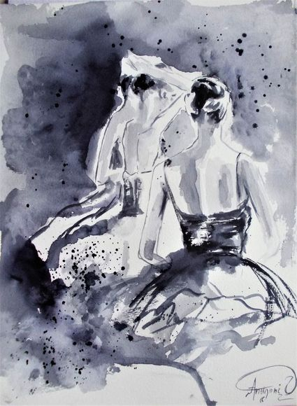 Behind the Scenes- Original black and white ballet watercolor painting