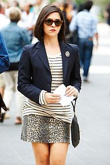 Striped Top, Animal Print Skirt, and Blazer