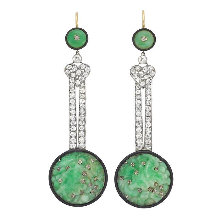 Art Deco Carved Jade, Diamond and Black Enamel Pendant Earrings set in Platinum  circa 1920.