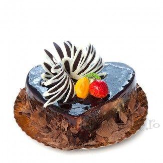 Brillo de ciocolata, crema si glazura de ciocolata si fructe proaspete