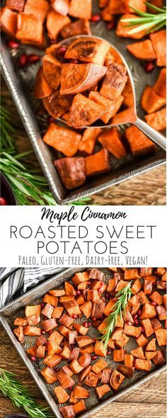 This Maple Cinnamon Roasted Sweet Potatoes recipe has only 5 ingredients! A perfect healthier holiday side dish that tastes like a crispy version of the beloved sweet potato casserole! #thanksgiving #vegan #paleo #glutenfree #dairyfree #sweetpotatoes