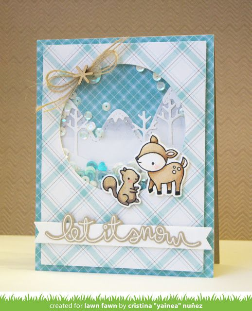 the Lawn Fawn blog: Lawn Fawn Intro: Perfectly Plaid Winter, Stitched Mountain Borders, Stitched Tree Border, Cheery Christmas & Winter Big Scripty Words Card by Yainea.
