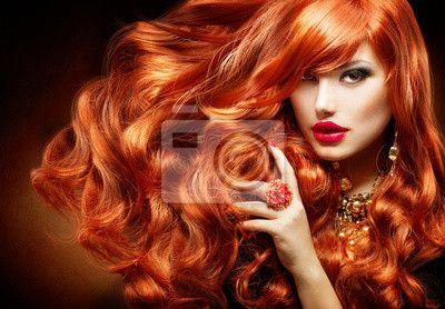 Długie kręcone włosy Red. Kobieta, Portret Fashion - Fototapety - Redro