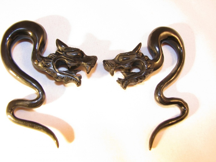 "Avaia Artistic Jewelry  - Dragon ICEFYRE carved, black, horn ear gauges - 12g - 1/2"" organic, hanging spirals, $21.99 (http://www.avaiaartisticjewelry.com/products/Dragon-ICEFYRE-carved,-black,-horn-ear-gauges-%2d-12g-%2d-00g-organic,-hanging-spirals.html)"
