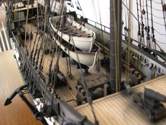 The completed model of HMS Beagle top deck view