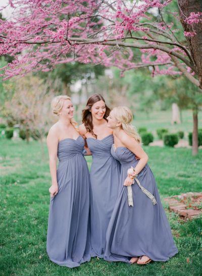 Long purple bridesmaid dresses: http://www.stylemepretty.com/missouri-weddings/springfield-mo/2014/09/23/fun-and-feminine-wedding-inspiration-shoot/ | Photography - Jordan Brittley - http://jordanbrittley.com/