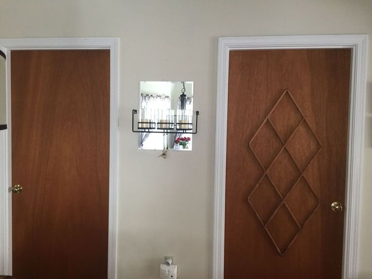 Ugly Slab Door Transformed With a Mid Century Modern Feel #2 window mullions glued on