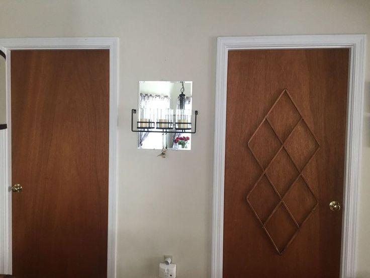 Ugly Slab Door Transformed With a Mid Century Modern Feel #2 window mullions glued on
