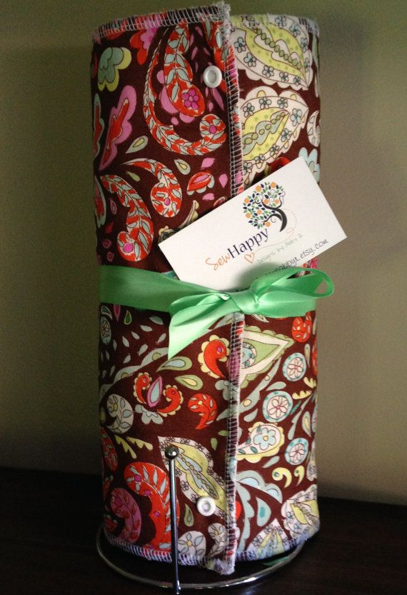 Reusable Cloth Paper Towel, Snap Towel Roll, Unpaper Towel - Pretty Little Things Jocelyn Paisley Brown , on Ivory Terry