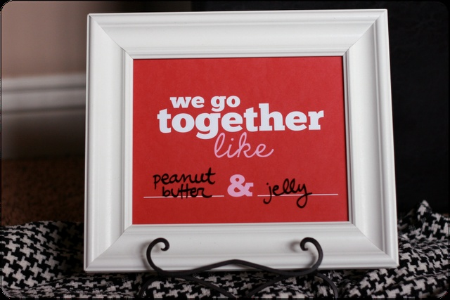LOVE this Valentine's Day printable - We go together like (fill in the blank) and (fill in the blank)
