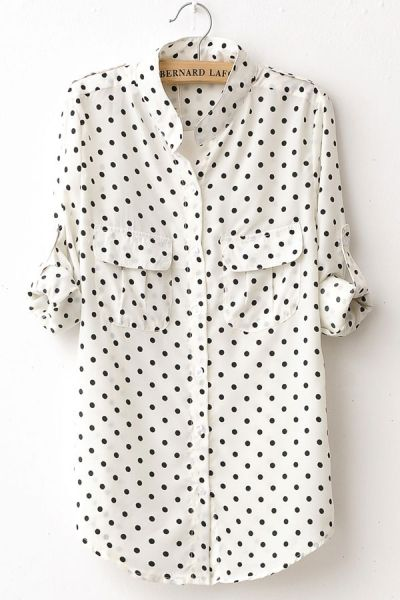"Polka-Dot button down (perfect to pair with a skinny jean, a bright ballet flat and a messy top knot on those ""I really don't wanna be dressed, but gotta leave the house"" days)"
