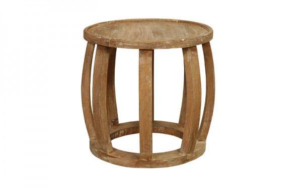 Drum End Table Burnt White Rustic   OZ Design Furniture & Homewares