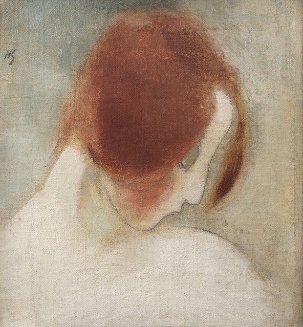 Helene Schjerfbeck: Punainen pää II, 1915.